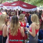Alabama football tailgate party blondes on the Quad