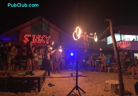 Phi Phil Thailand nightlife fire show Slinky beach bar