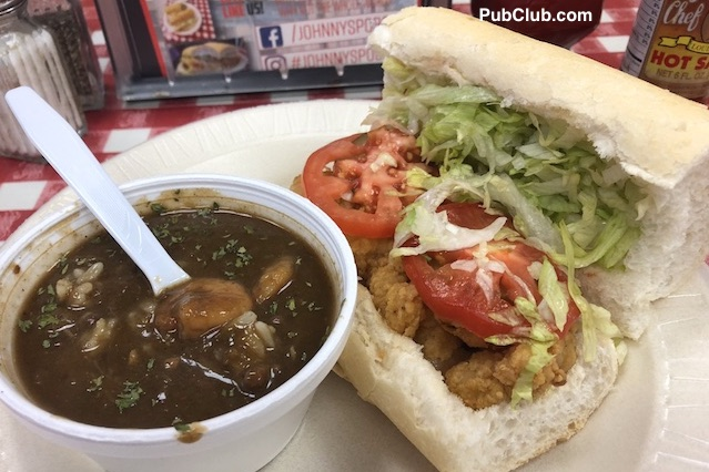 Johnny's Po-Boy New Orleans fried shrimp gumbo combo