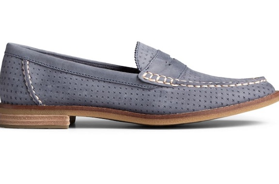 Sperry women's shoe Seaport Penny Perforated Leather Loafer
